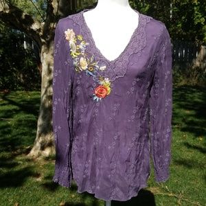 Johnny Was purple embroidered blouse